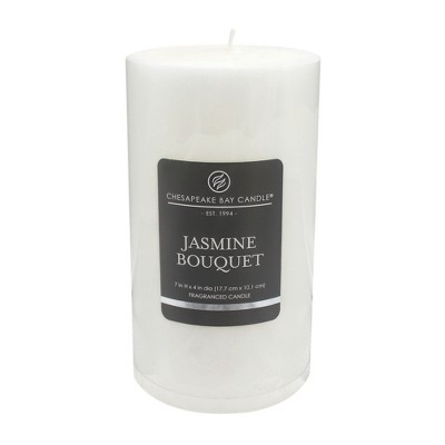 7  x 4  Satin Pillar Candle Jasmine Bouquet - Chesapeake Bay Candle