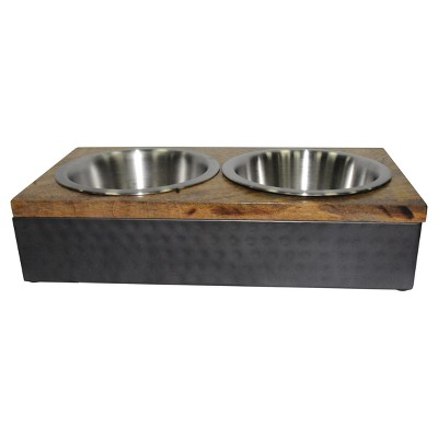 Wood/Metal Double Diner Cat and Dog Bowl - Medium - Boots & Barkley™