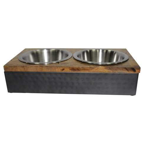Wood/Metal Double Diner Cat and Dog Bowl - Silver - Boots & Barkley™ - image 1 of 1