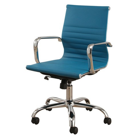 Jackson Silver Finish Leather Office Chair - Turquoise - Abbyson - image 1 of 3