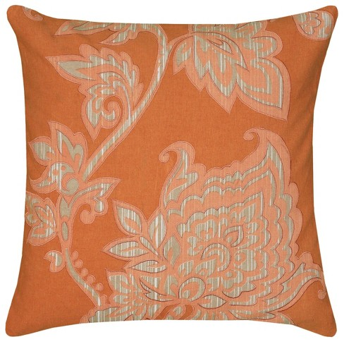 """18""""x18"""" Embroidered Square Throw Pillow Orange/Ivory - Rizzy Home - image 1 of 3"""