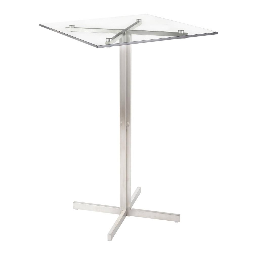 Fuji Contemporary Square Bar Table Silver - Lumisource