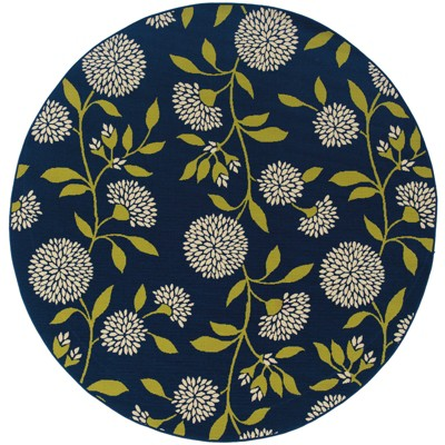 """7'10"""" Round Cozumel Floral Patio Rug Blue/Green"""