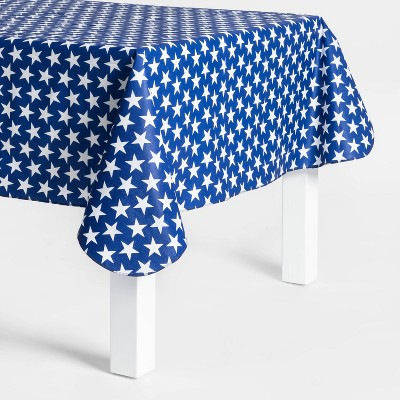 84 x60  Americana Star Print PEVA Tablecloth Blue/White - Sun Squad™