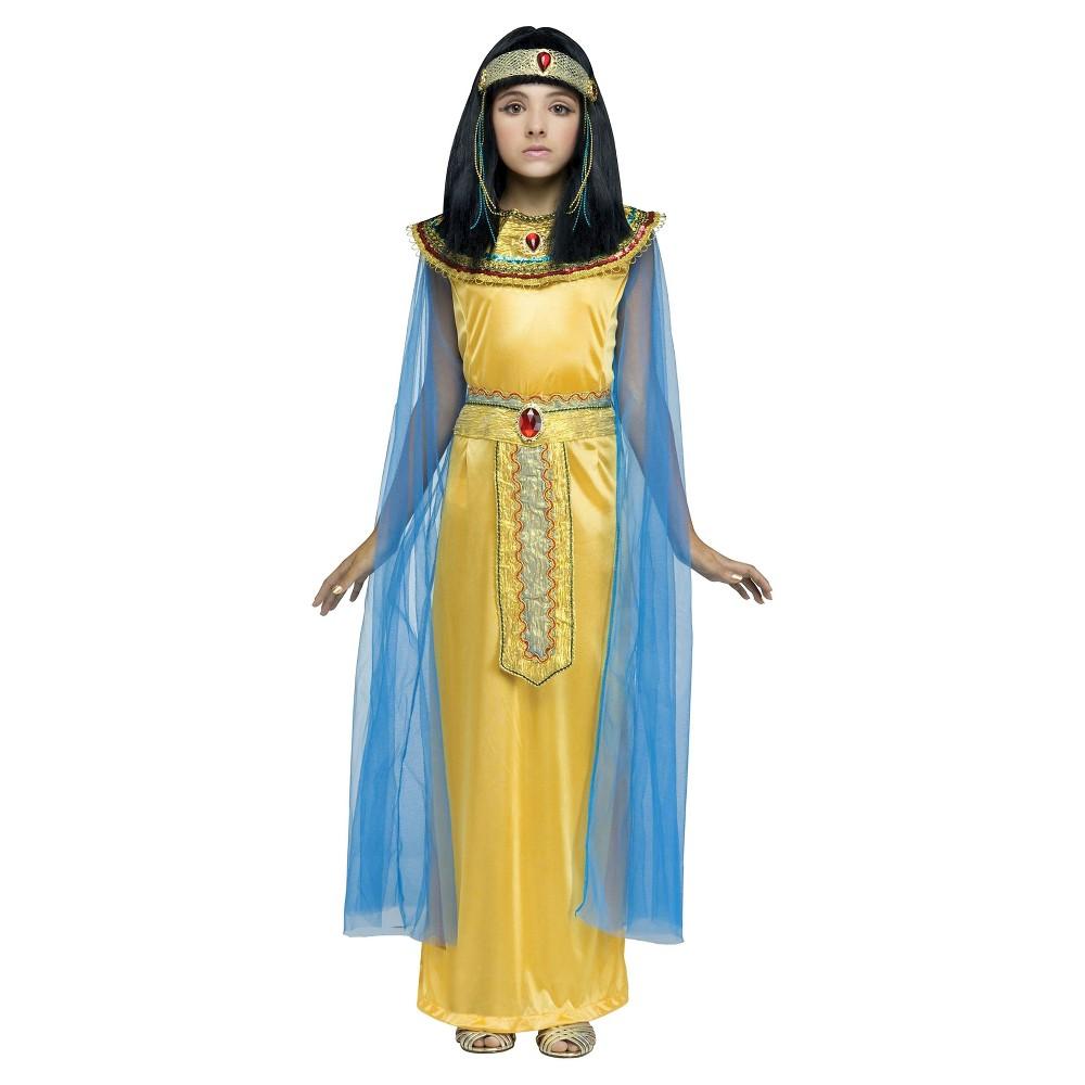 Girls' Golden Cleopatra Costume - M, Size: M(8-10), Gold