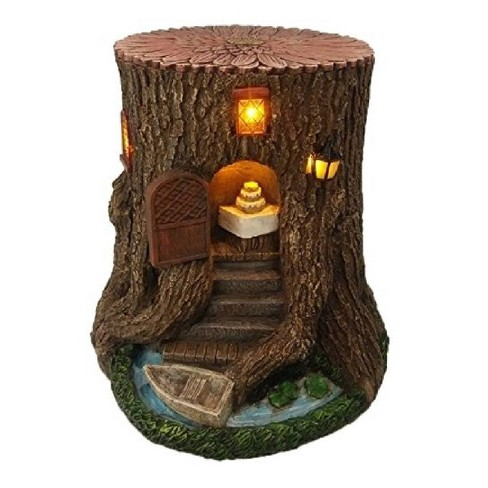 """15"""" Polyresin Solar Fairy Garden Tree Stump House with Stairs Boat Brown - Hi-Line Gift - image 1 of 1"""