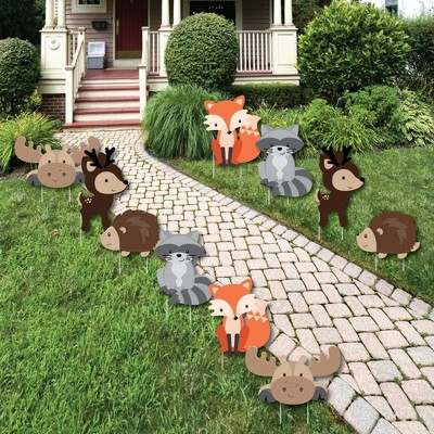 Big Dot of Happiness Woodland Creatures - Forest Animal Lawn Decorations - Outdoor Baby Shower or Birthday Party Yard Decorations - 10 Piece