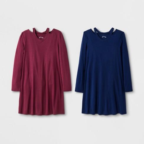 Girls' Long Sleeve Cut Out 2pk A Line Dress - art class™ Blue/Maroon - image 1 of 2