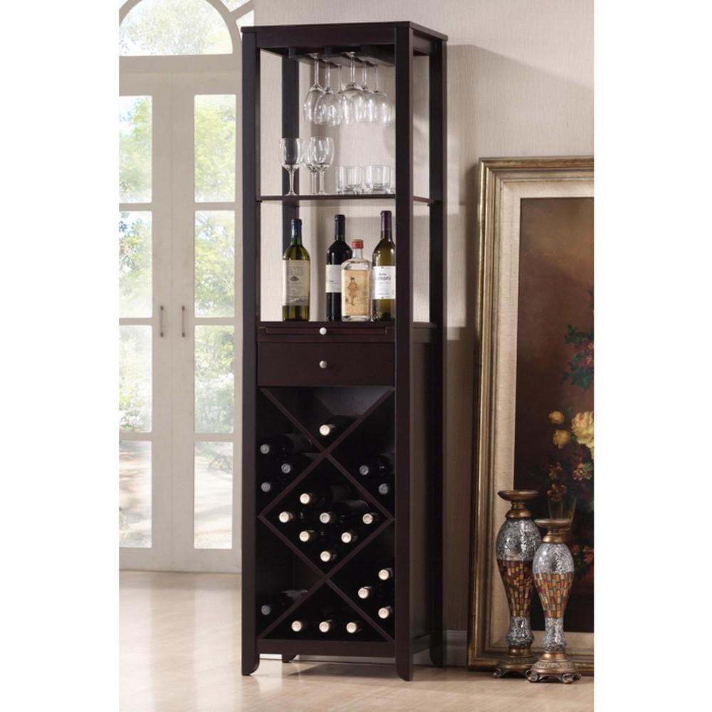 Austin Wood Modern Wine Tower Dark Brown - Baxton Studio
