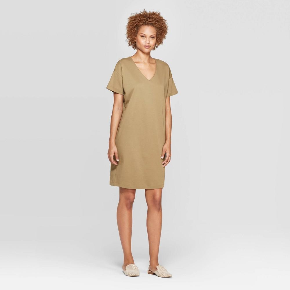 Women's Short Sleeve V-Neck Shirtdress - Prologue Olive (Green) S