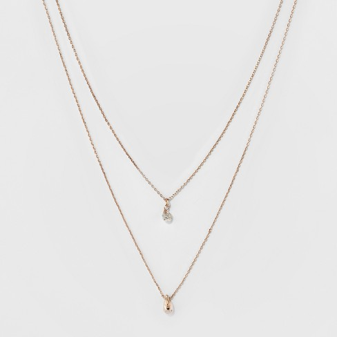 Two Row Short Necklace - A New Day™ Gold - image 1 of 3