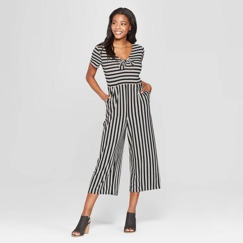 e4df943203e4 Women s Striped Short Sleeve Tie Front Knit Jumpsuit - Xhilaration ...