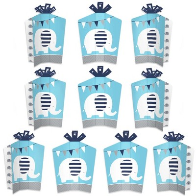 Big Dot of Happiness Blue Elephant - Table Decorations - Boy Baby Shower or Birthday Party Fold and Flare Centerpieces - 10 Count