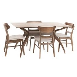 "Idalia 60"" 5pc Dining Set - Light Beige/Natural Walnut - Christopher Knight Home"