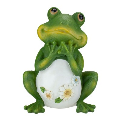 "Roman 9.5"" Green Frog with Daisies Outdoor Garden Statue"