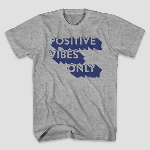Men's Positive Vibes Short Sleeve Graphic T-Shirt - Heather Grey - image 1 of 1