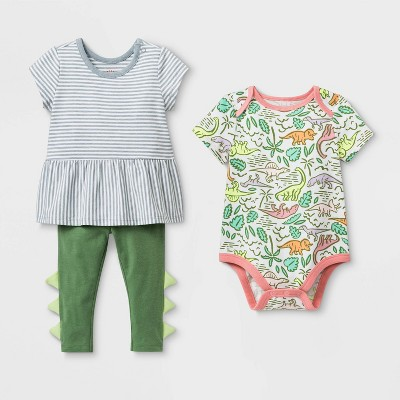 Baby Girls' Dino Top & Bottom Set - Cat & Jack™ Green 3-6M