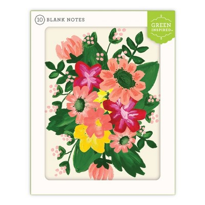 Green Inspired 10ct Spring Flowers Blank Cards
