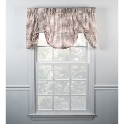 "Ellis Curtain Davins High Quality Room Darkening Solid Natural Stylish Color Tie Up Window Valance - (60""x22"")"