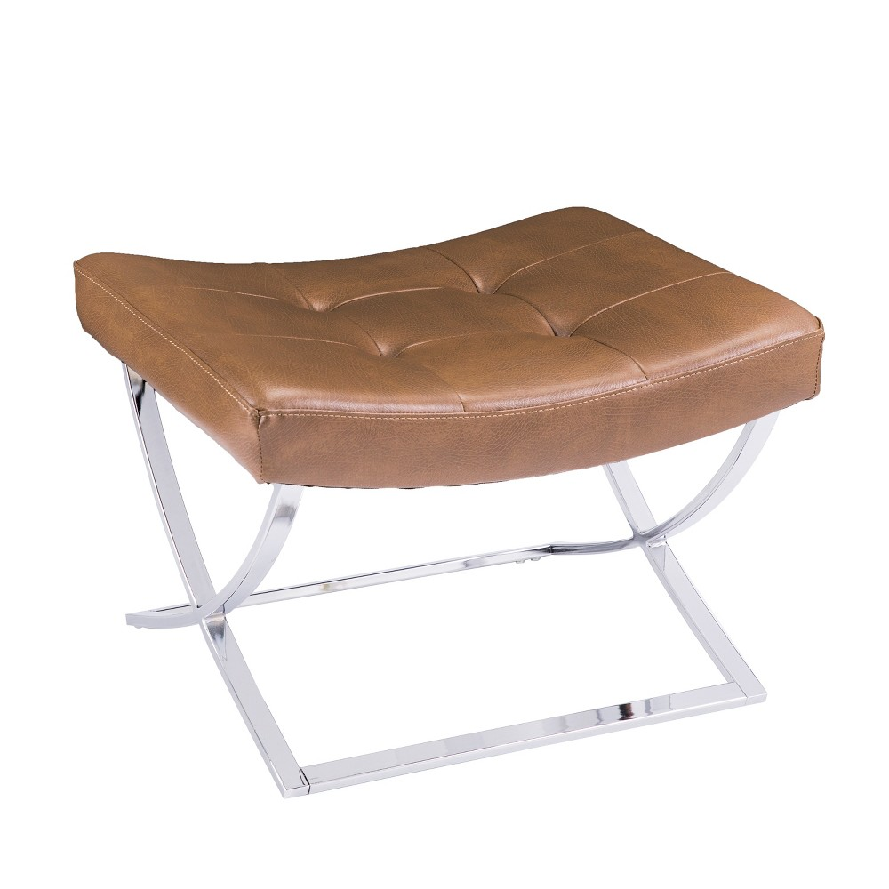 Carynne Tufted Stool Caramel With Silver - Aiden Lane