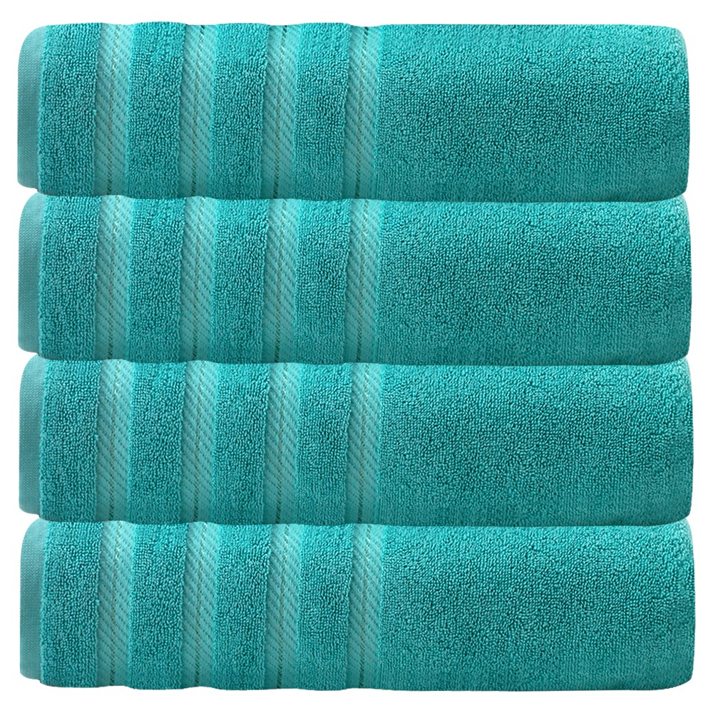 Image of 4pc Antalya Turkish Bath Towels Set Aqua - Makroteks