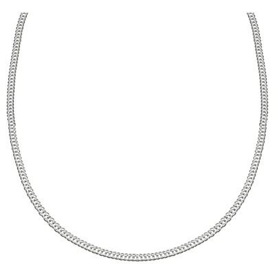 "Women's Diamond Cut Flat Curb Chain in Sterling Silver - Gray (18"")"