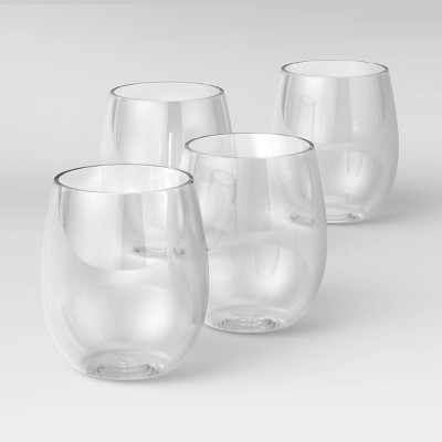 13.4oz 4pk Plastic Wine Glasses - Room Essentials™