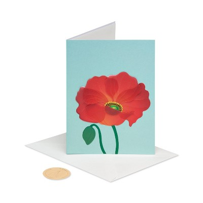 Card Poppy on Blue - PAPYRUS