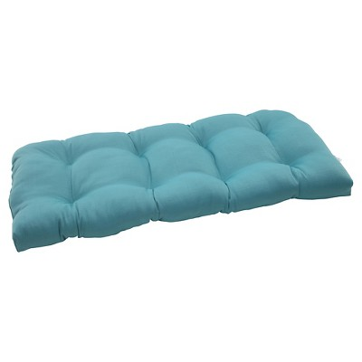Outdoor Wicker Loveseat Cushion - Turquoise Forsyth Solid