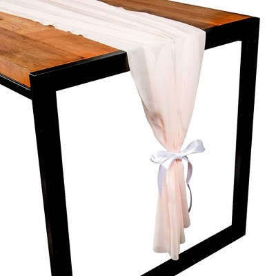 Juvale Pink Chiffon Dining Table Runner with White Ribbon, 120 Inches Long x 29 in