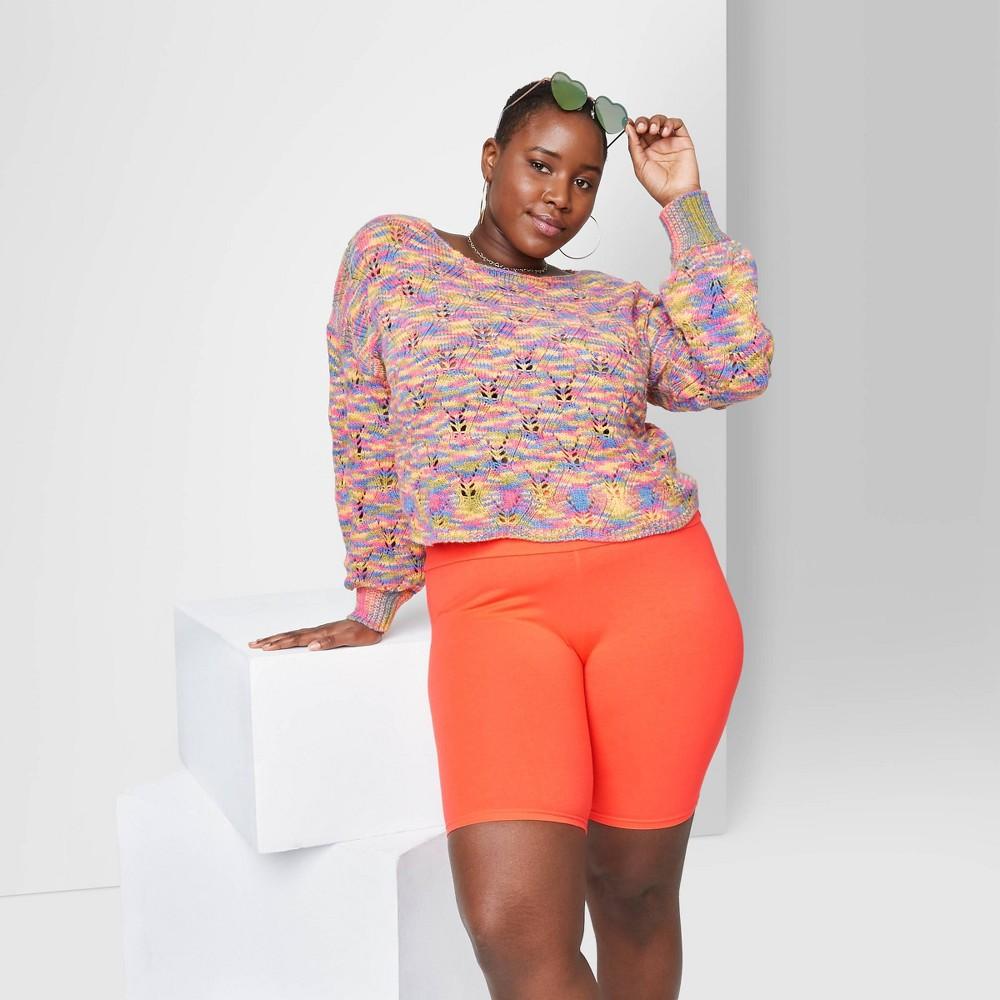 Women 39 S Plus Size High Rise Bike Shorts Wild Fable 8482 Light Tangerine 4x