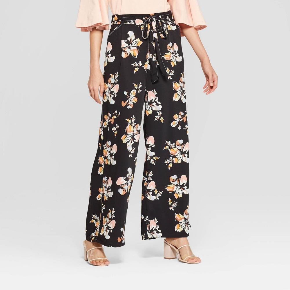 Women's Floral Print Wide Leg Pants - Who What Wear Black XS