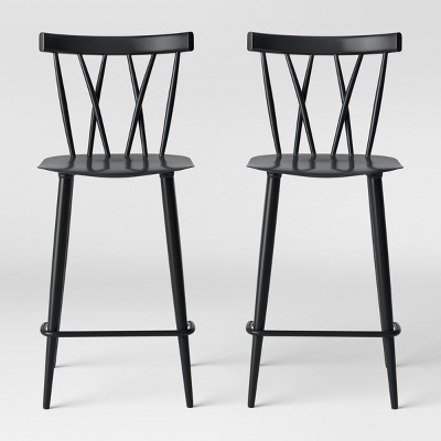 Set of 2 Becket Metal X Back Counter Stool Black - Project 62™