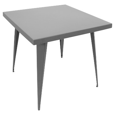 """Austin 32"""" Industrial Dining Table Matte Gray Metal Finish - LumiSource"""