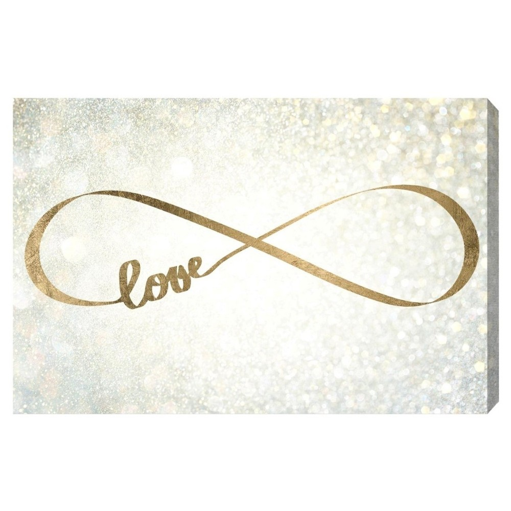 "Image of ""Oliver Gal Unframed Wall """"Sparkle Love"""" Canvas Art (24x16), Silver Gold"""