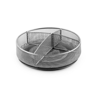 "Design Ideas Mesh Divided Lazy Susan – Kitchen, Pantry, and Bathroom Spinning Storage Organizer – Silver, 7.3"" x 7.3"" x 2"""