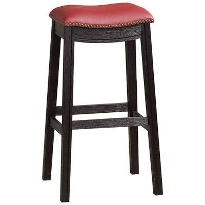 """Set of 2 29"""" Wooden Counter Height Barstools with Upholstered Cushion Seat - Benzara"""