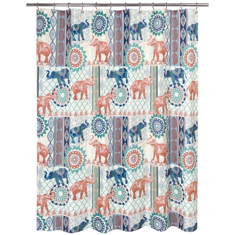 Image of Elephant Patch Shower Curtain - Allure Home Creation, Multi-Colored