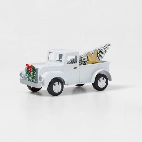 Medium Metal Truck with Christmas Tree Decorative Figurine White - Wondershop™ - image 1 of 1