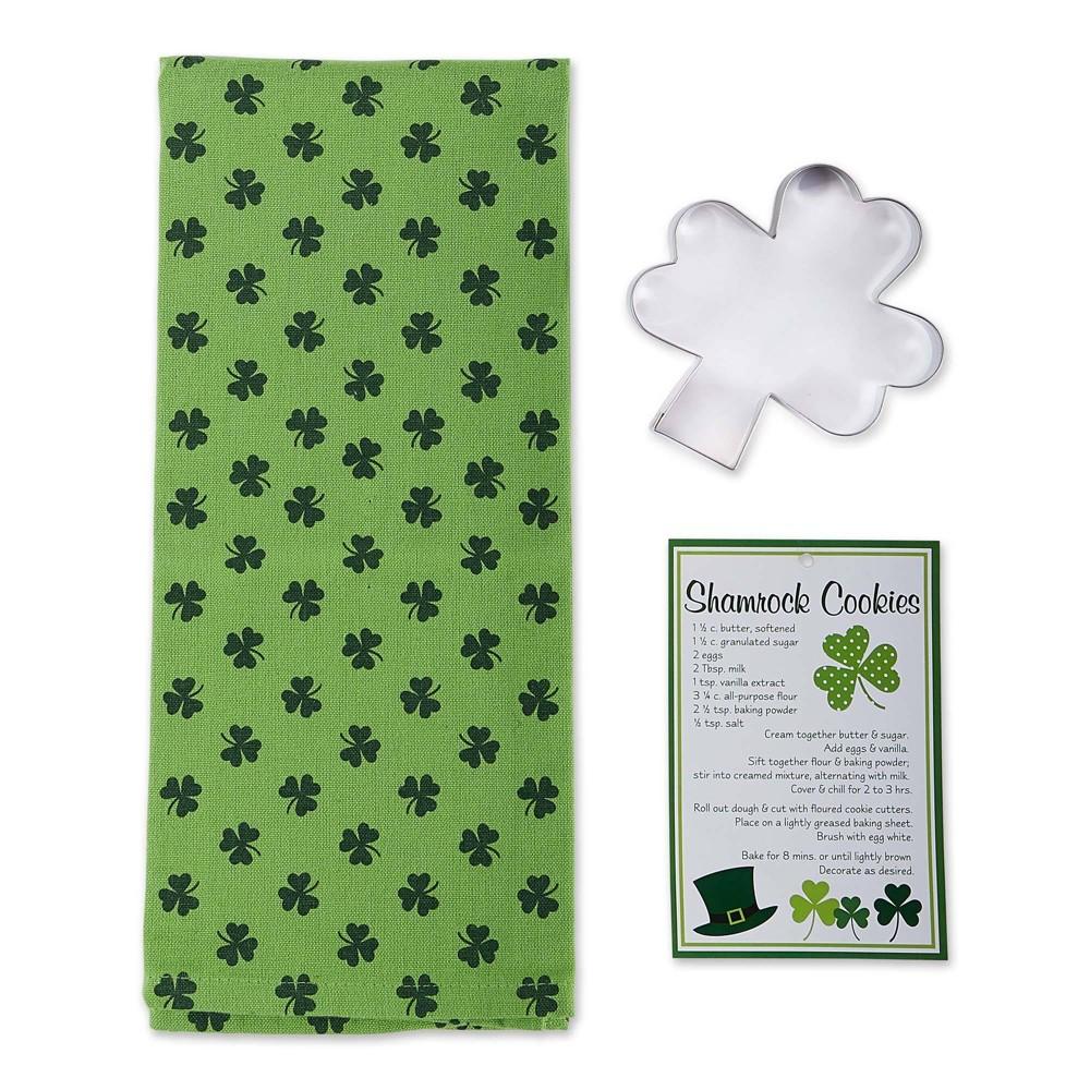 Image of 2pc Shamrock Cookie Cutter and Dishtowel Gift Set - Design Imports