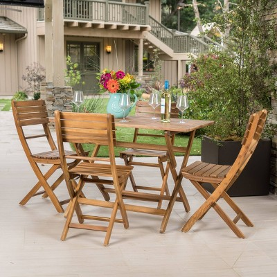 Positano 5pc Acacia Wood Foldable Dining Set - Natural - Christopher Knight Home