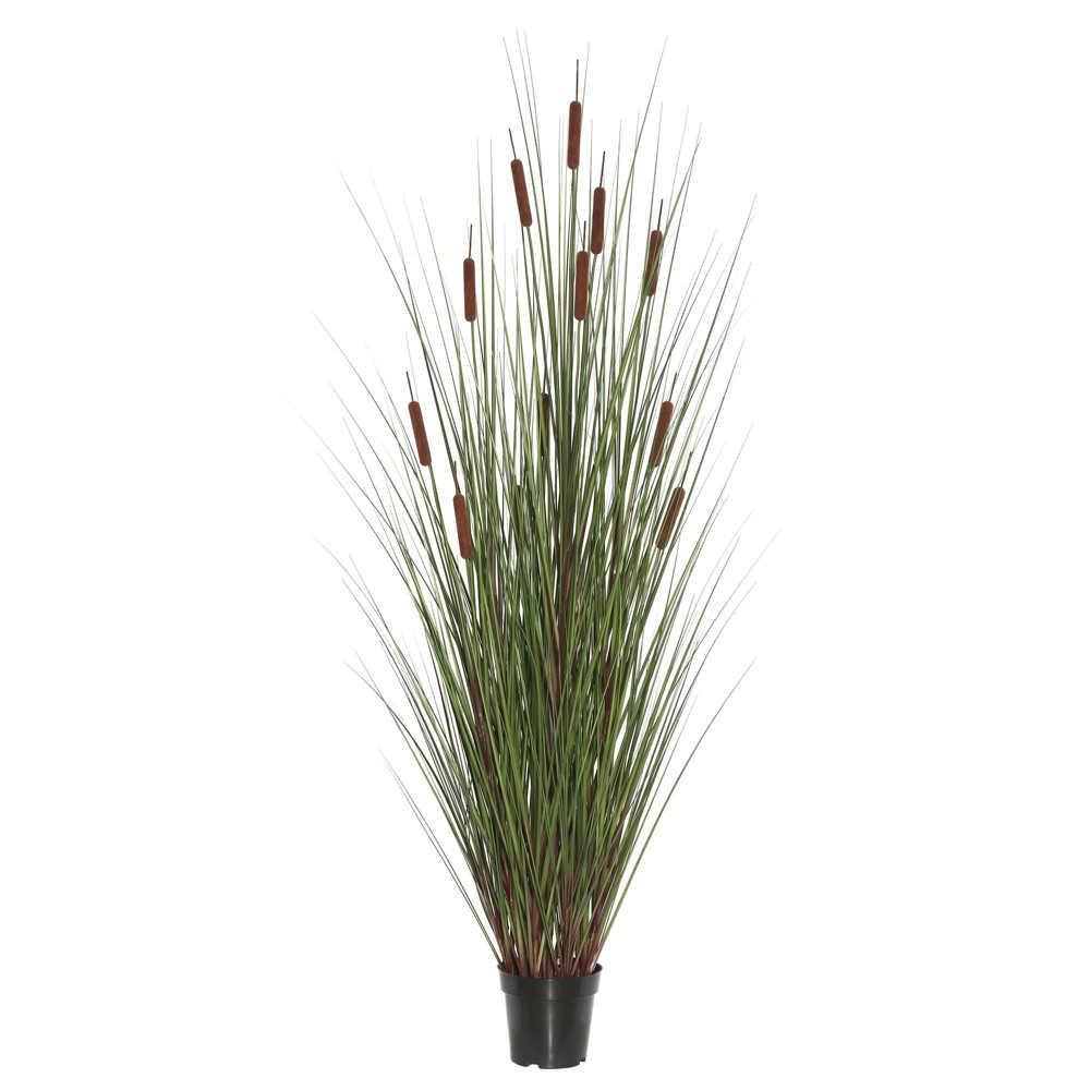 Artificial Grass With 6 Cattails Potted 36 34 Brown Vickerman