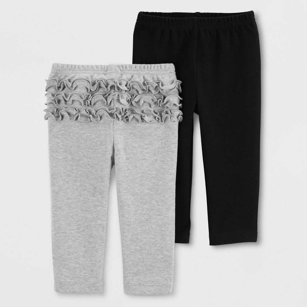 Baby Girls' 2pk Leggings - Just One You made by carter's Gray/Black 3M