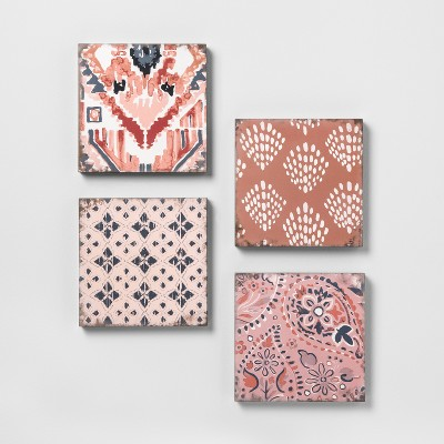 Mixed Pattern 4pk Wall Decor Set Pink - Opalhouse™