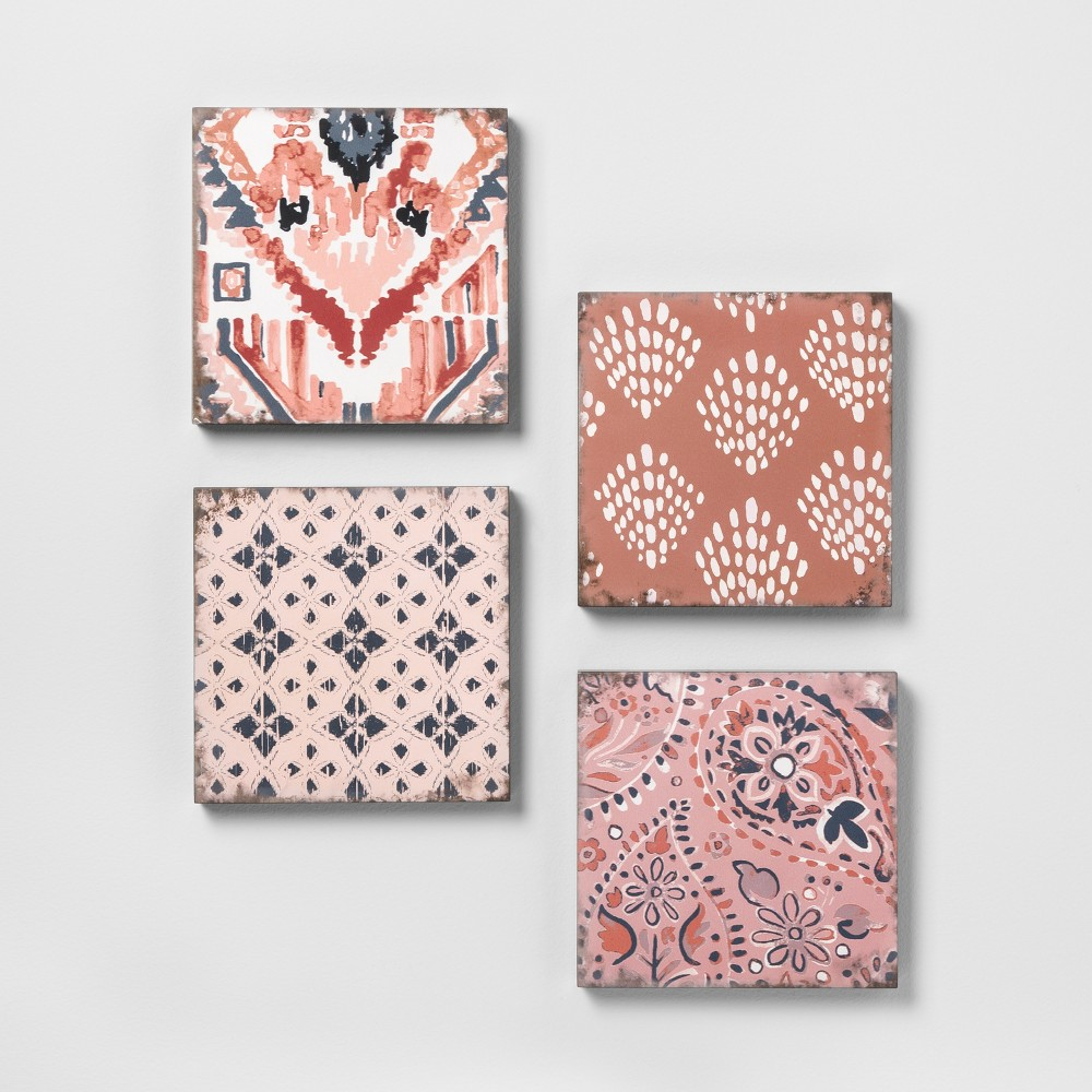 Mixed Pattern 4pk Wall Decor Set Pink - Opalhouse