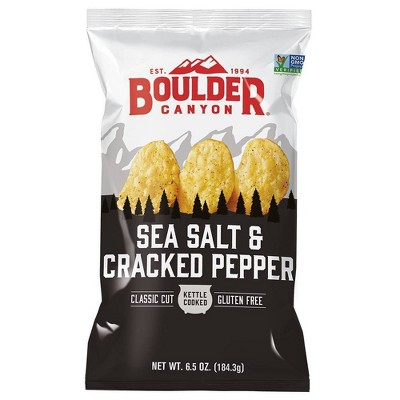 Boulder Canyon Sea Salt & Cracked Pepper Kettle Potato Chips - 6.5oz