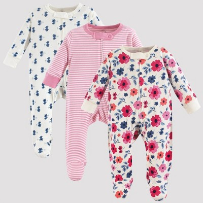 Touched by Nature Baby Girls' 3pk Garden Floral Organic Cotton Sleep N' Play - Pink/White 0-3M