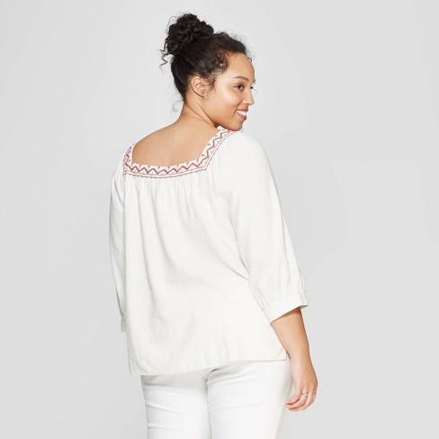 0dfd49e996f0f1 Women's Plus Size Striped Long Sleeve Square Neck Top - Universal Thread™  Cream