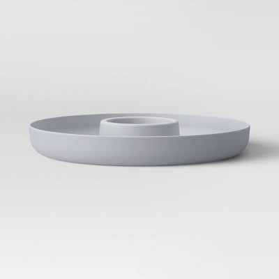 "13"" Plastic Chip and Dip Serving Tray Gray - Room Essentials™"