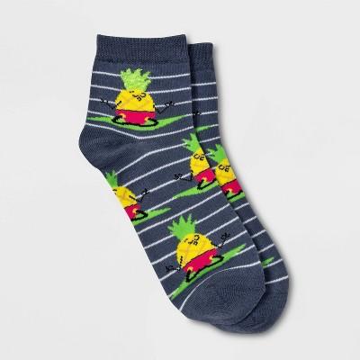 Women's Peaceful Pineapple Ankle Socks - Xhilaration™ Denim Heather 4-10